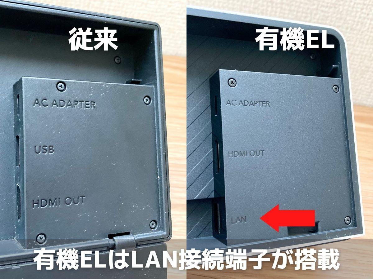 有機ELモデルと従来モデルのSwitchのドック裏面