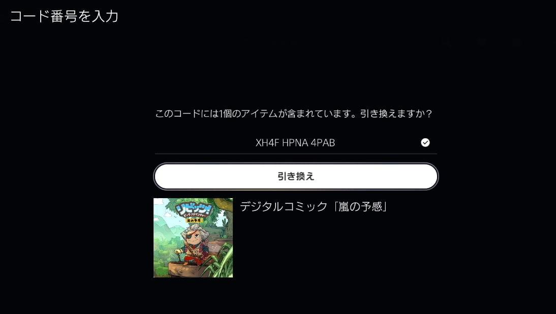 PS5のプロダクトコード確認画面