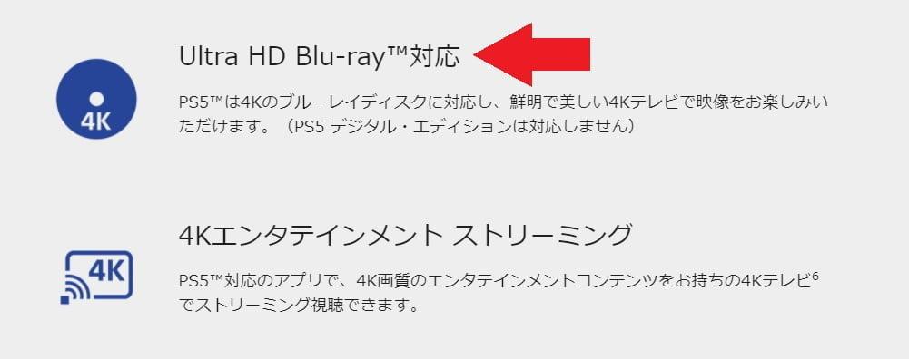 PS5のUHD Blu-rayの表記