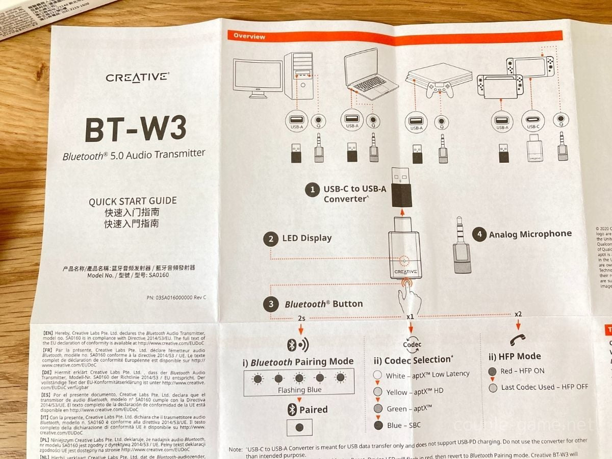 BT-W3の説明書