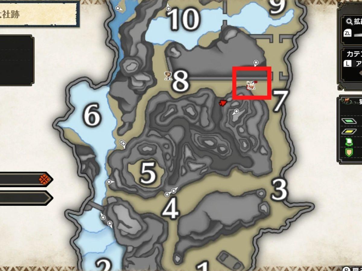 詳細マップのターゲットの位置