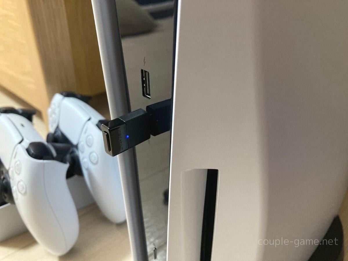 PS5本体のtype-CのUSBポートに挿したBT-W3