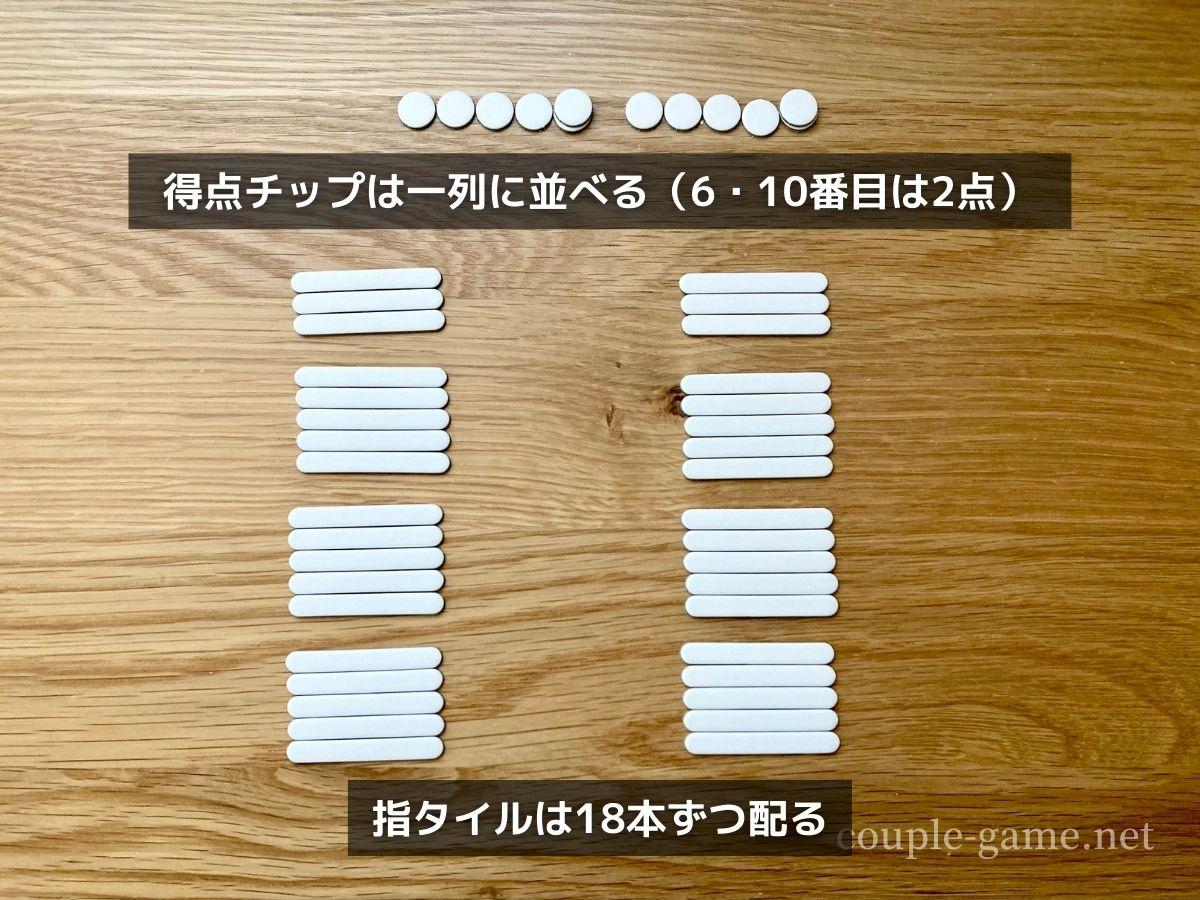 ボドゲ18のパーツを机に並べた状態