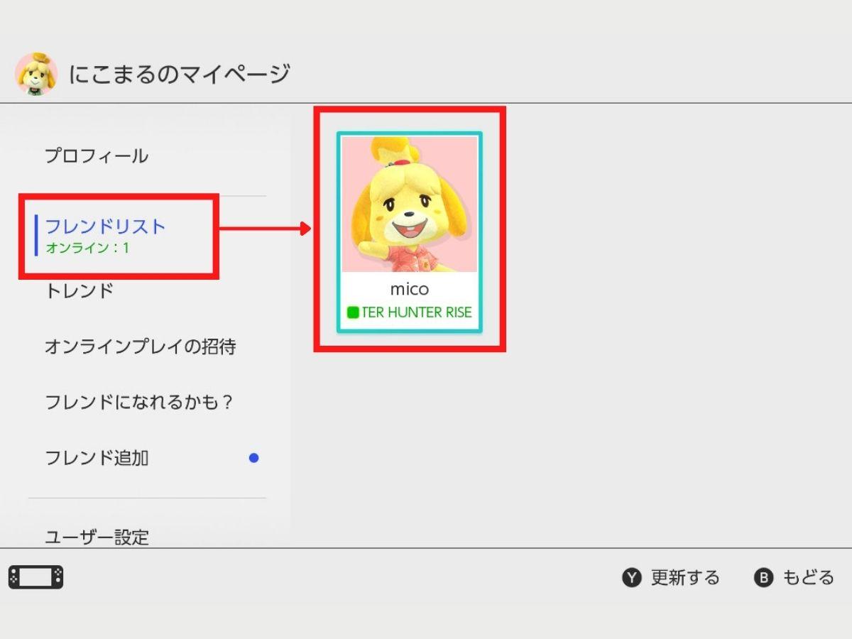 Switchのマイページ