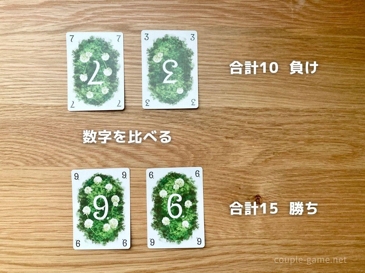 場にあるカードの合計数を比べる